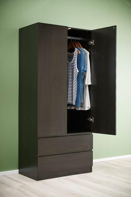 Como 2 Door Wardrobe Black/Brown
