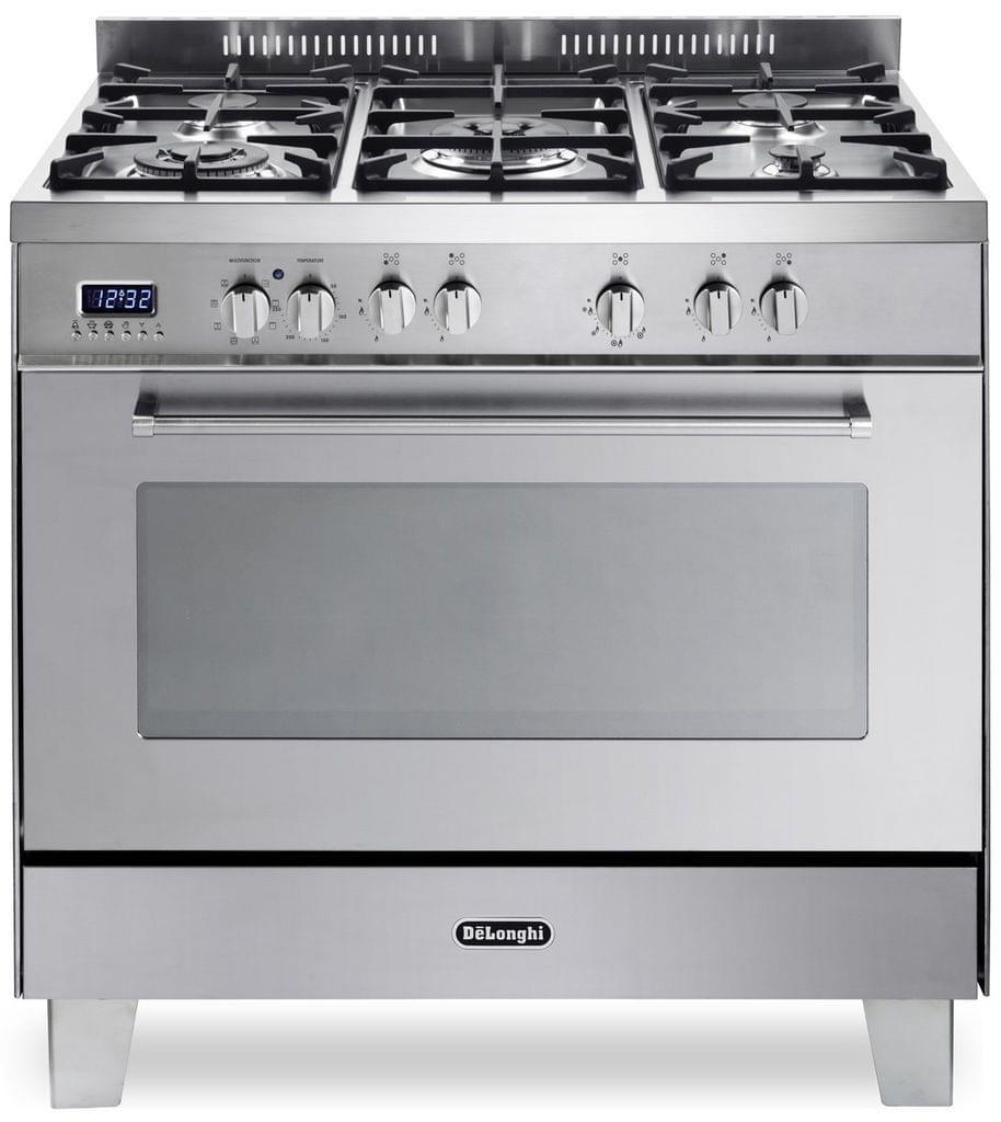 DeLonghi 90cm Dual Fuel Cooker 5 Burner w/ Wok S/S