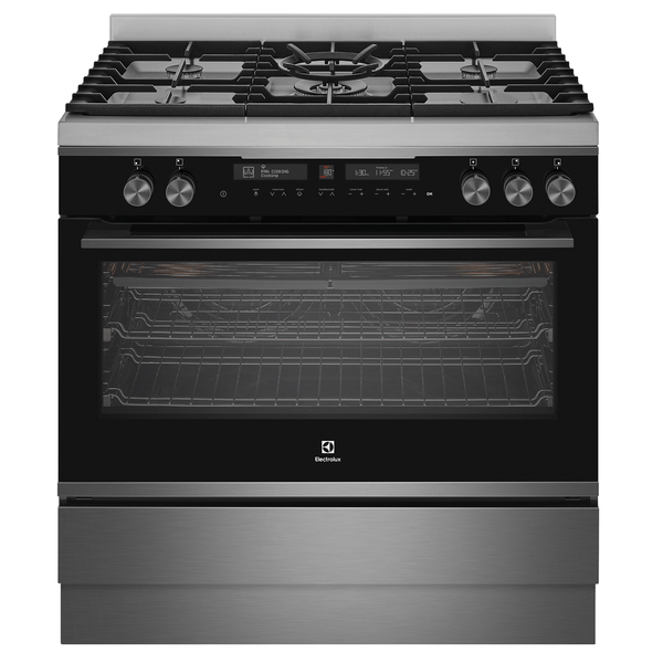 Electrolux 90cm Freestanding Pyro Cooker Dual Fuel 13 Func SS