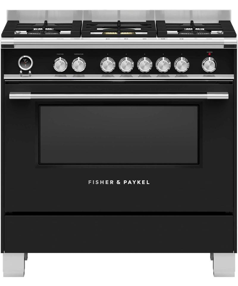 Fisher &Paykel 90cm Upright Cooker Dual Fuel 9 Functions Black