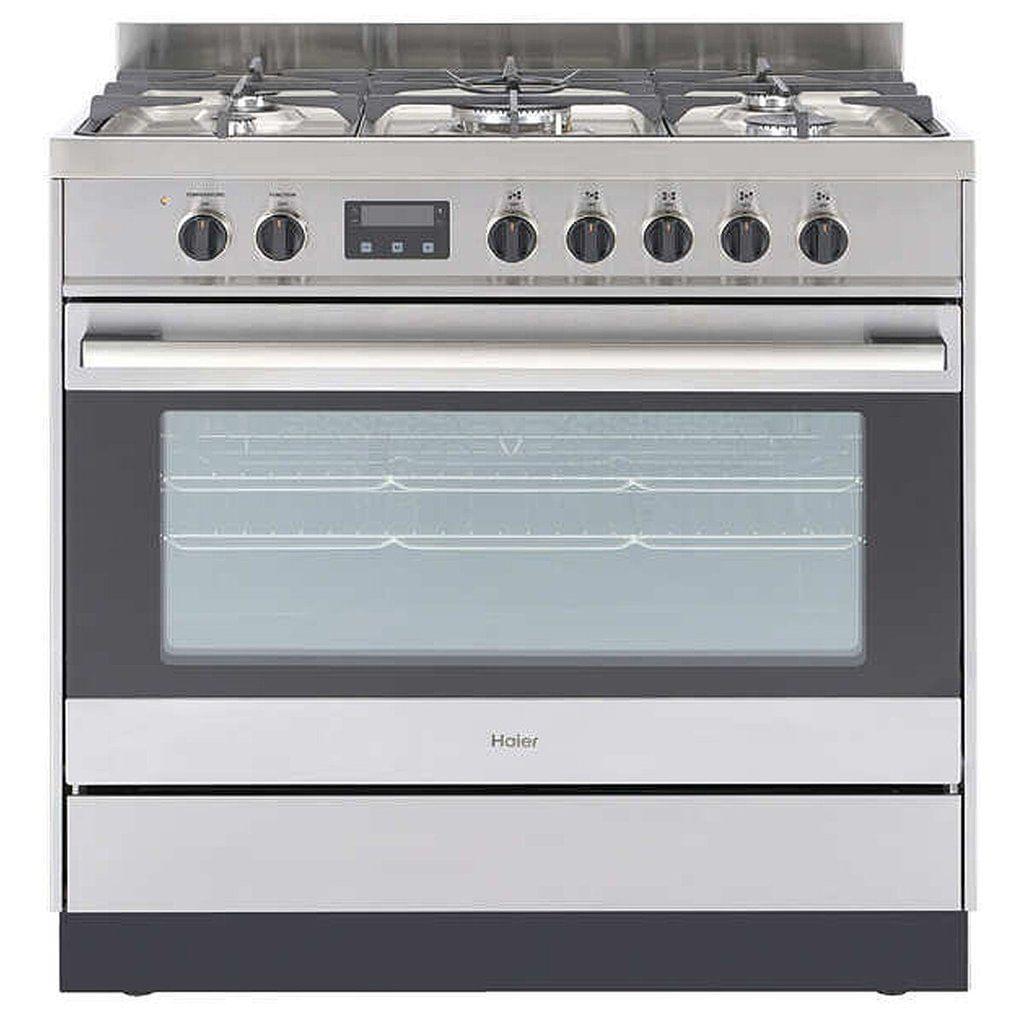 Haier 90cm Freestanding Dual Fuel Cooker 9 Func S/S