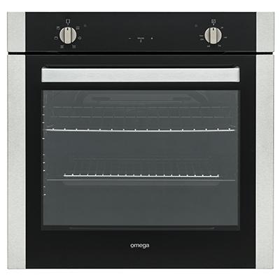 Omega 60cm Multifunction Oven Black Glass + S/S