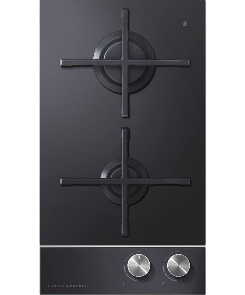 Fisher &Paykel 30cm 2 Burner Gas on Glass Cooktop F/Fail S/S Trim