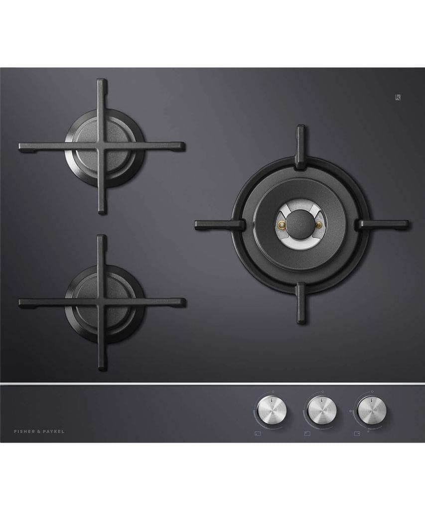 Fisher &Paykel  60cm 3 Burner Glass Gas Wok Cooktop LPG