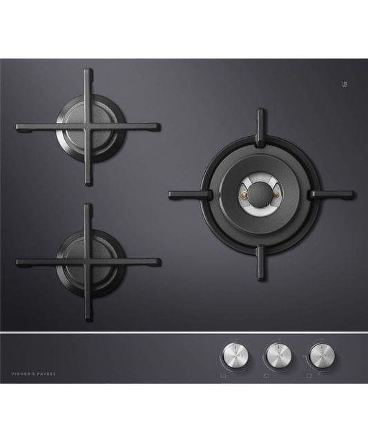 Fisher &Paykel 60cm 3 Burner Glass Gas Wok Cooktop - Nat Gas
