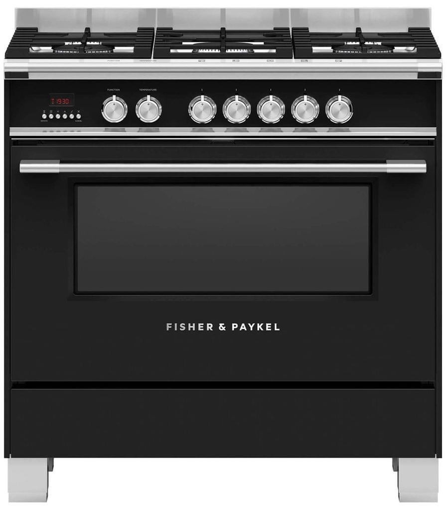 Fisher &Paykel 90cm Upright Cooker Dual Fuel 9 Functions Blk