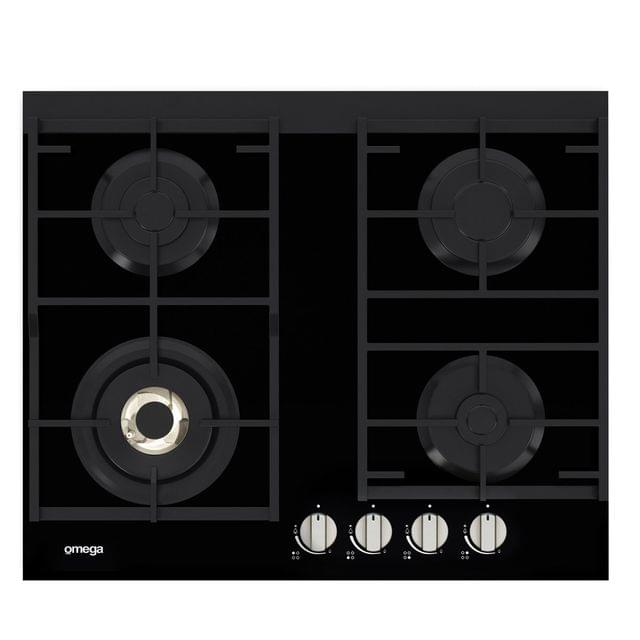 Omega 60cm Gas Cooktop Black Glass