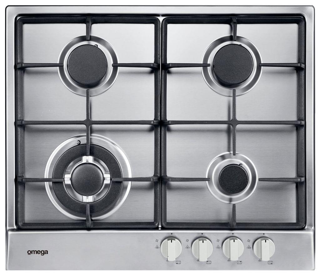 Omega 60cm Gas Cooktop 4 Burner C.I. Trivets S/S