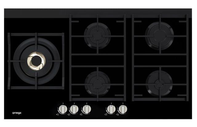 Omega 90cm 5 Burner Gas on Glass Cooktop