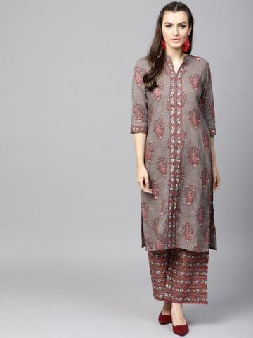 AKS -- LIGHT BROWN & PINK FLORAL PRINTED KURTA WITH PALAZZO SET