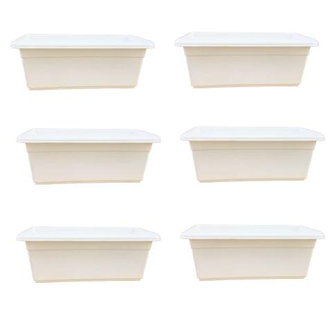 Yuccabe Italia Shera White 24 inches Tray Planter (Set of 6)