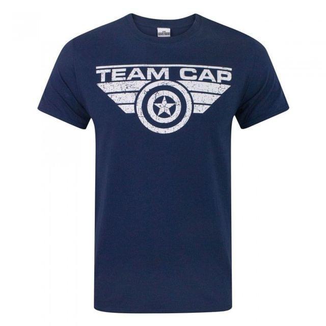 Marvel Official Mens Captain America Civil War Team Cap Distressed T-Shirt