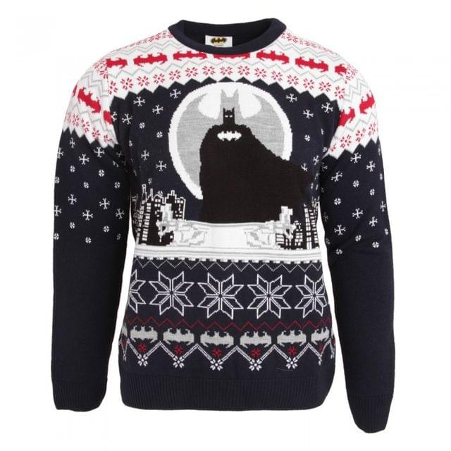 Batman Unisex Adults Batman And Bat Logo Patterned Christmas Jumper