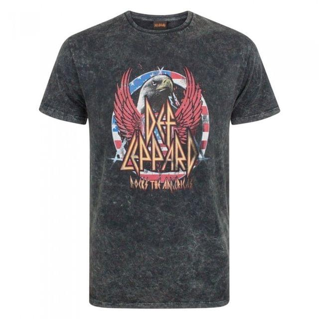 Def Leppard Mens Acid Wash T-Shirt