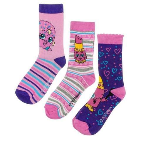 Shopkins Childrens Girls Assorted Socks Set (3 Pairs)