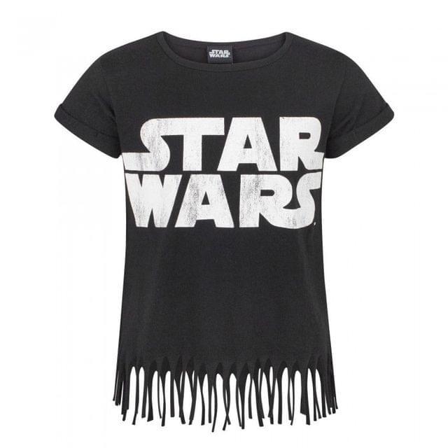 Star Wars Childrens/Girls Official Fringed Logo T-Shirt