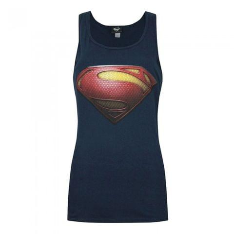 Superman Womens/Ladies Man Of Steel Logo Sleeveless Vest