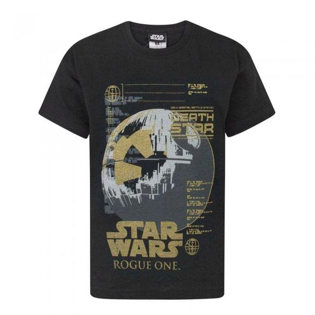 Star Wars Childrens/Boys Official Rogue One Metallic Death Star T-Shirt