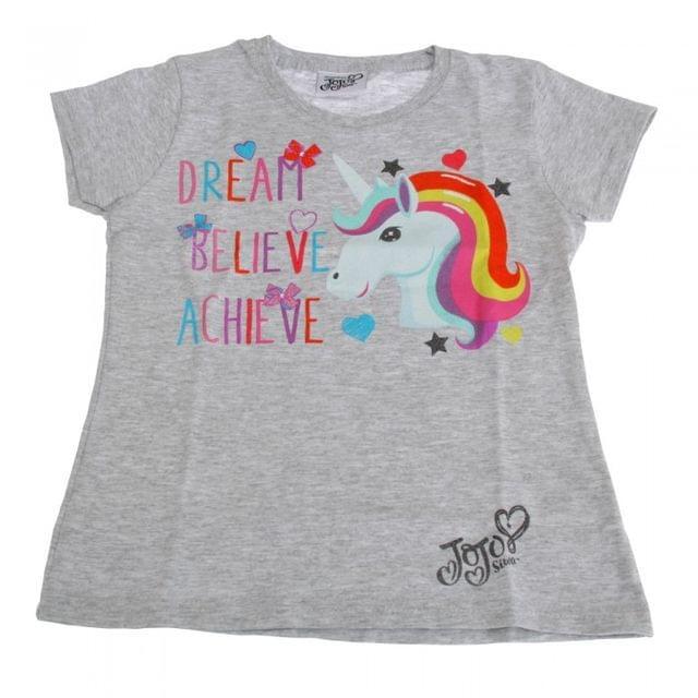 Jojo Siwa Childrens Girls Dream Believe Achieve Unicorn T-Shirt