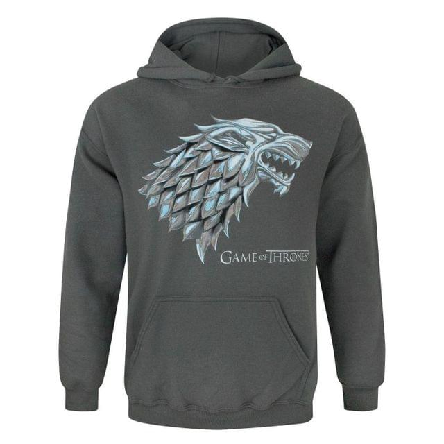 Game Of Thrones Official Mens Metallic Stark Direwolf Hoodie