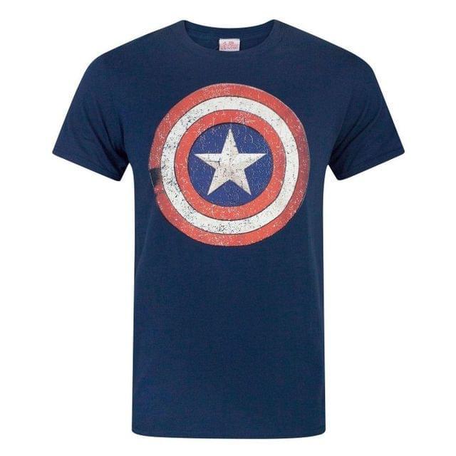 Captain America Mens Distressed Shield T-Shirt