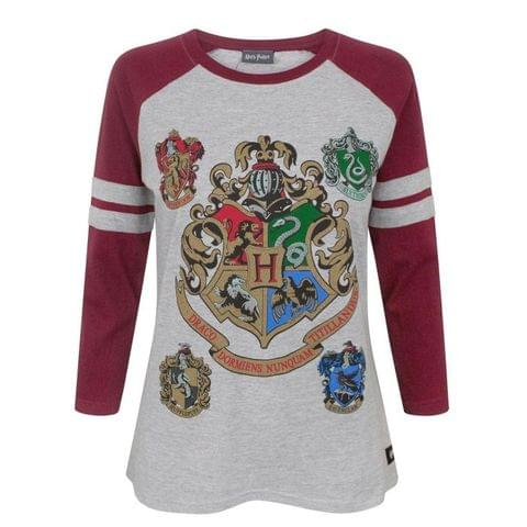 Harry Potter Womens/Ladies Hogwarts Raglan Top