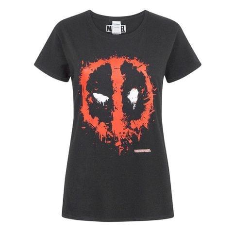 Marvel Womens/Ladies Deadpool Splat Mask Logo T-Shirt