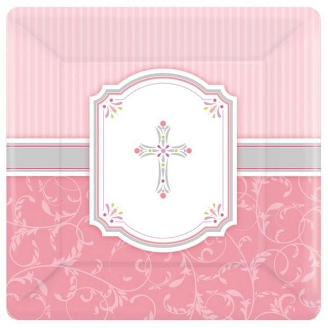 Amscan Communion Blessing Square Paper Plates