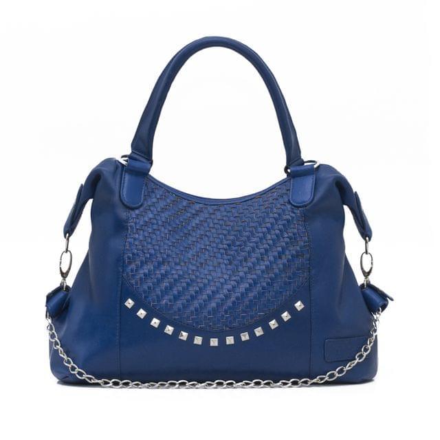 Hand Crafted Weaving Mesh Body Ladies Handbag Blue