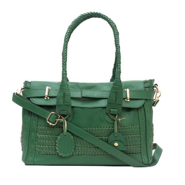 Handcrafted Waving Bordered Handbag Green