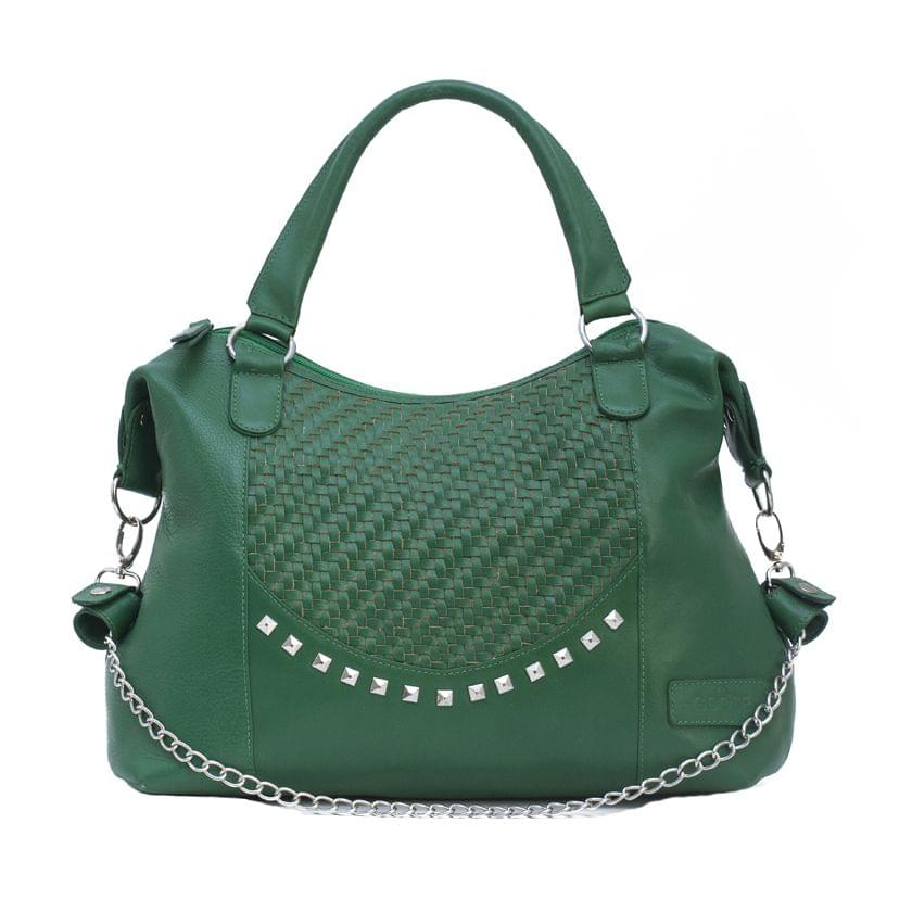 Hand Crafted Weaving Mesh Body Ladies Handbag Green