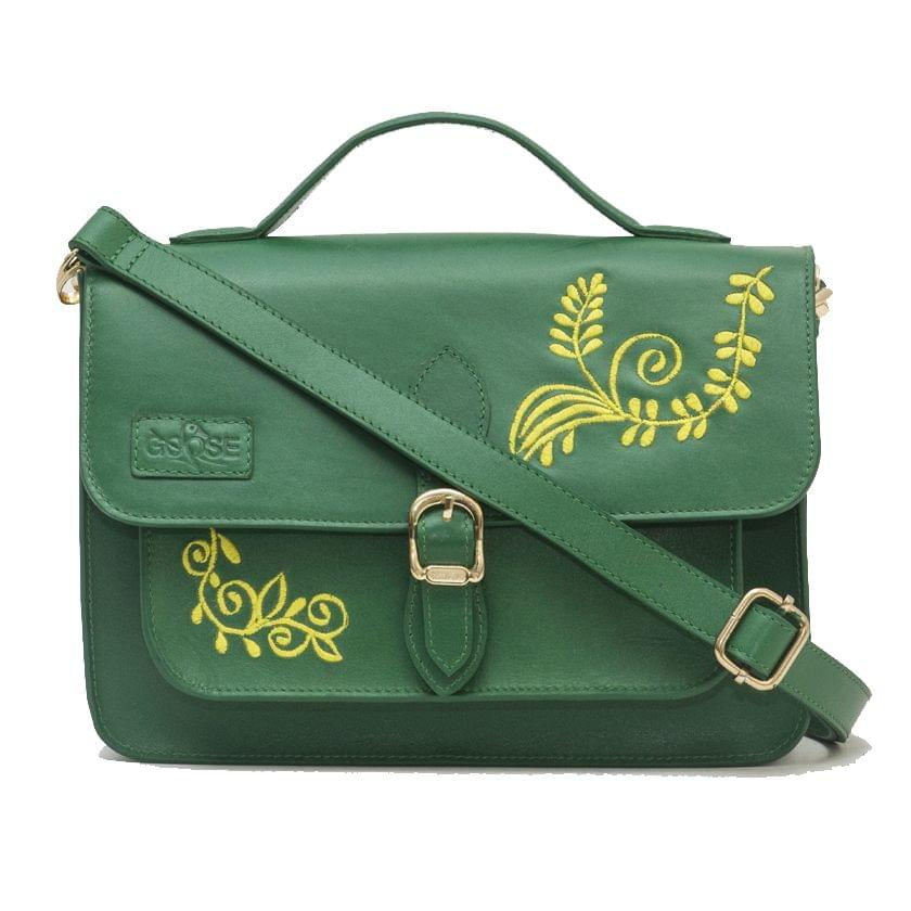 Goose Midi Yellow Embroidered Floral Satchel Green Color
