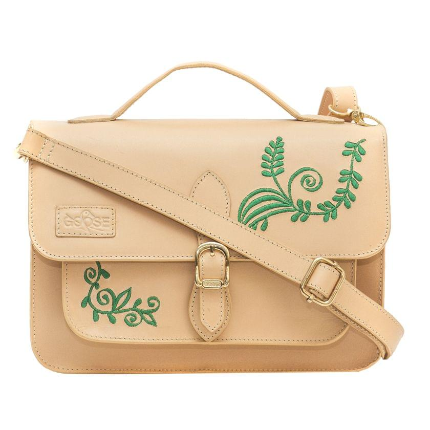 Goose Midi Green Embroidered Floral Satchel Peach