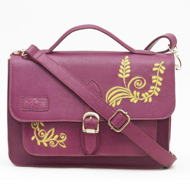 Goose Midi  Yellow Embroidered Floral Satchel Purple
