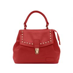 Goose Midi Bucket Handbag in Red