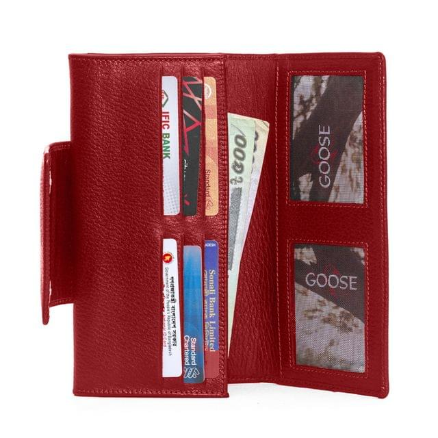 Flap Closure Long Wallet Red
