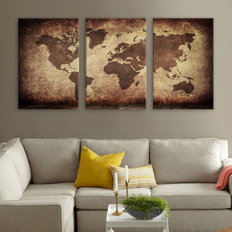 3 Panel World Map Framed Canvas Print