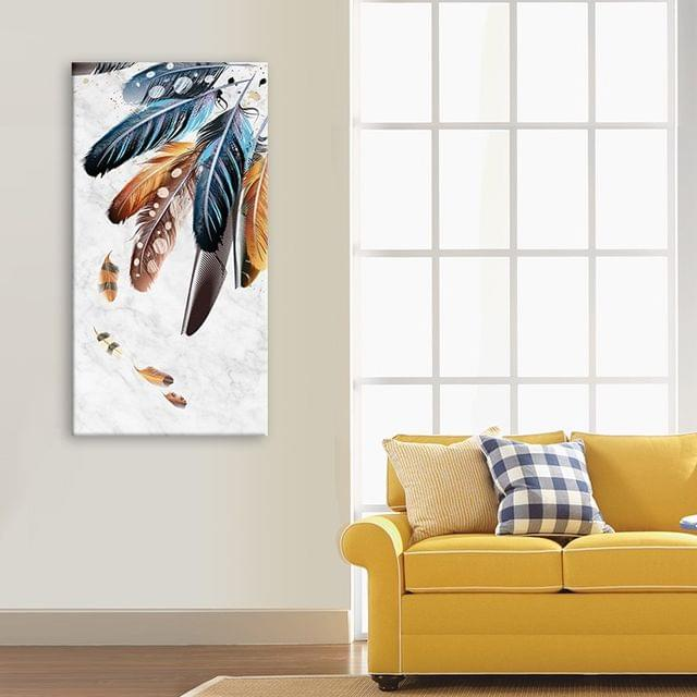 Coloured Feathers Framed Canvas Print