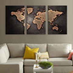 3 Panel World Map Framed Canvas Print Brown