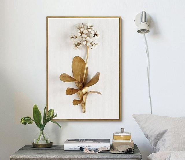Golden Leaf Framed Canvas Wall Print