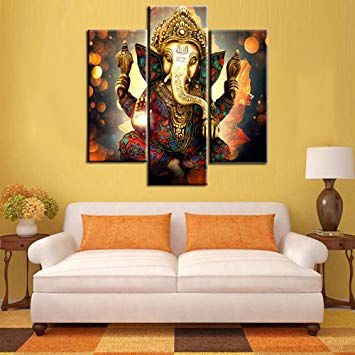 Lord Ganesha Ji 3 Panel Framed Canvas Print