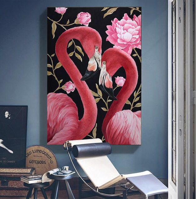 Pink Birds Stretched Canvas Print