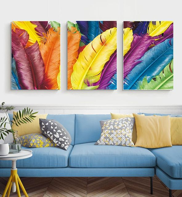 3 Panel Coloured Feathers Stretched Canvas Print