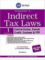 Indirect Tax Laws Set of 2 Modules 9th Edition, June 2016 For CA-Final Nov. 2016 Exams