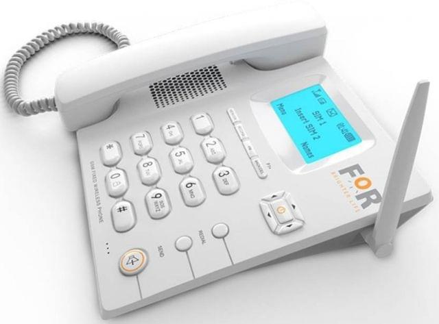 FOR GSM DUAL SIM F1+FIX WIRELESS PHONE,CORDED&CORDLESS Corded & Cordless Landline Phone with Answering Machine  (White)