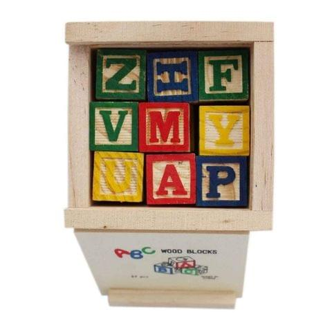 Negi ABC 123 Wooden Blocks Letters Numbers with Box Storage Case, Wooden (27 Pieces)