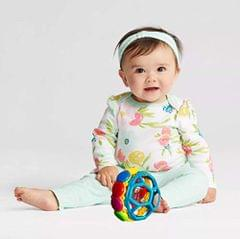 Techhark Rolling Hand Bell Ball Baby Rattles Toy Baby Fun Ball with Non-Toxic
