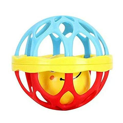 SAJANI Kid's Soft Plastic Rubber Body Rolling Hand Bell Ball Baby Rattles Toy (Multicolour)