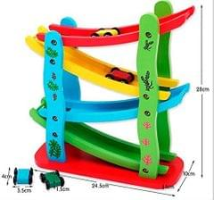 4-Level Wooden Ramp Racer Miniature Speeding Car Toy, for Kids Ages 3+ Years