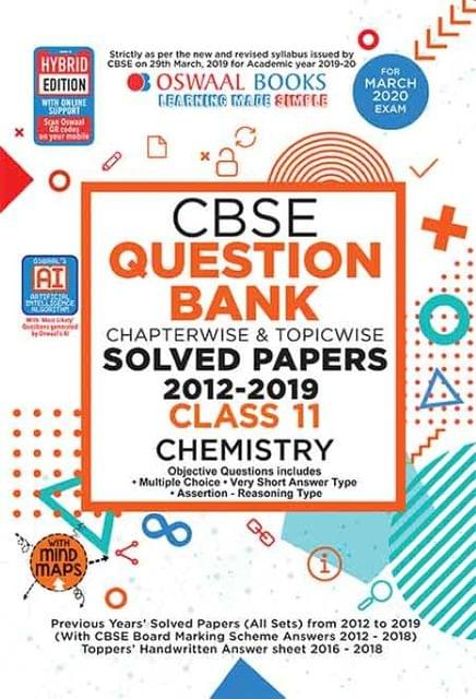 Oswaal CBSE Question Bank Class 11 Chemistry Book Chapterwise & Topicwise (For March 2020 Exam)